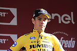 Wout Van Aert (BEL) Team Jumbo-Visma finishes in 3rd place on the podium at the end of Strade Bianche 2019 running 184km from Siena to Siena, held over the white gravel roads of Tuscany, Italy. 9th March 2019.<br /> Picture: Eoin Clarke | Cyclefile<br /> <br /> <br /> All photos usage must carry mandatory copyright credit (© Cyclefile | Eoin Clarke)