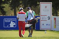 Eunshin Park (KOR) and Kenneth Quillinan (caddy) on the 9th tee during Round 3 of the Rocco Forte Sicilian Open 2018 played at Verdura Resort, Agrigento, Sicily, Italy on Saturday 12th May 2018.<br /> Picture:  Thos Caffrey / www.golffile.ie<br /> <br /> All photo usage must carry mandatory copyright credit (&copy; Golffile | Thos Caffrey)