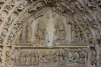 Tympanum, central portal, Church of Notre Dame, 12th - 14th century, Mantes-la-Jolie, Yvelines, France Picture by Manuel Cohen