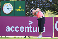 Brooke M. Henderson (USA) tees off the 13th tee during Friday's Round 2 of The Evian Championship 2018, held at the Evian Resort Golf Club, Evian-les-Bains, France. 14th September 2018.<br /> Picture: Eoin Clarke | Golffile<br /> <br /> <br /> All photos usage must carry mandatory copyright credit (&copy; Golffile | Eoin Clarke)