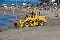 Tractors on beach,Playa de las Americas,Tenerife, Canary Islands, Spain