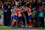 Players of Atletico de Madrid celebrate goal during the UEFA Europa League match between Atletico de Madrid and Bayer 04 Leverkusen at Wanda Metropolitano Stadium in Madrid, Spain. October 22, 2019. (ALTERPHOTOS/A. Perez Meca)