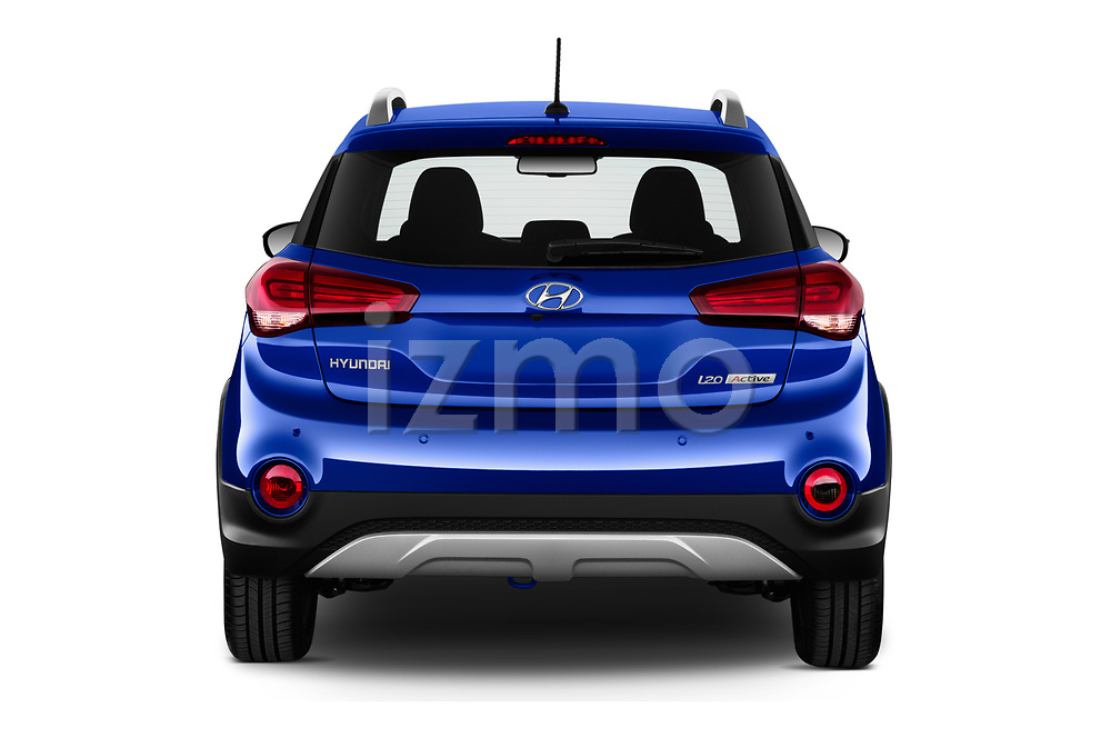 Straight rear view of 2020 Hyundai i20-Active Active 5 Door Hatchback Rear View  stock images