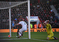 29th February 2020; Vitality Stadium, Bournemouth, Dorset, England; English Premier League Football, Bournemouth Athletic versus Chelsea; Marcos Alonso of Chelsea gets the headed rebound from keeper Ramsgate and scores in 85th minute 2-2