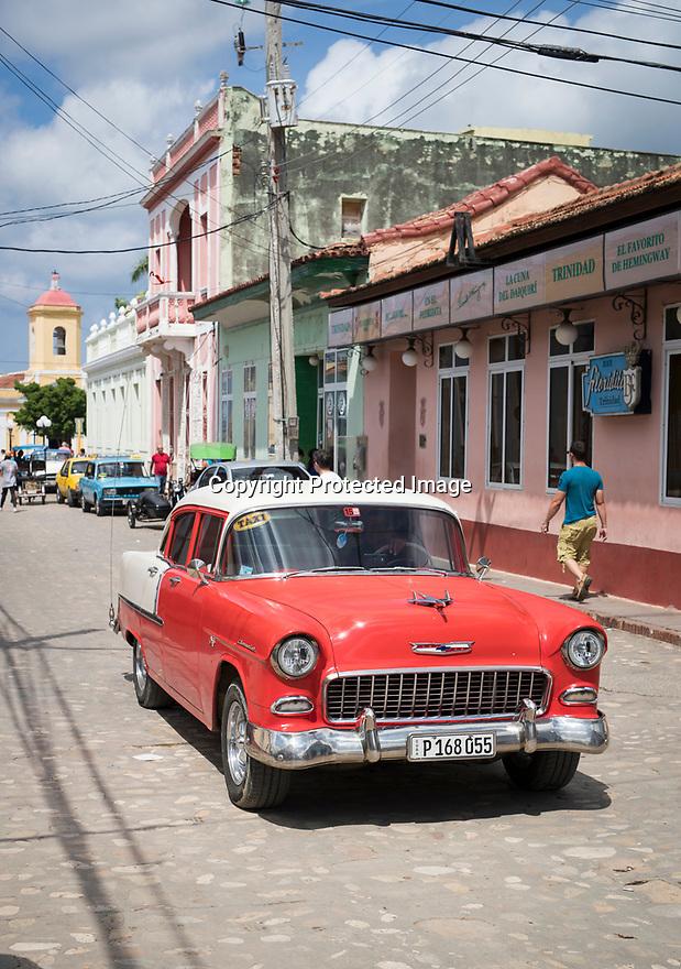 27/07/18<br /> <br /> Old Chevrolet from 1950s, Trinidad, Cuba.<br /> <br /> All Rights Reserved, F Stop Press Ltd. (0)1335 344240 +44 (0)7765 242650  www.fstoppress.com rod@fstoppress.com