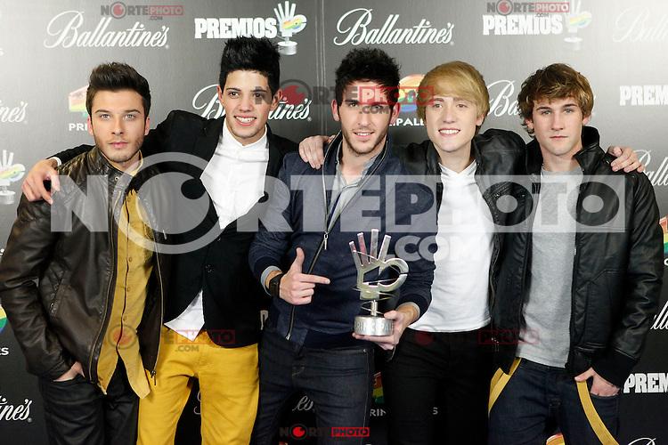Auryn attends 40 Principales awards photocall of winners  2012 at Palacio de los Deportes in Madrid, Spain. January 24, 2013. (ALTERPHOTOS/Caro Marin) /NortePhoto