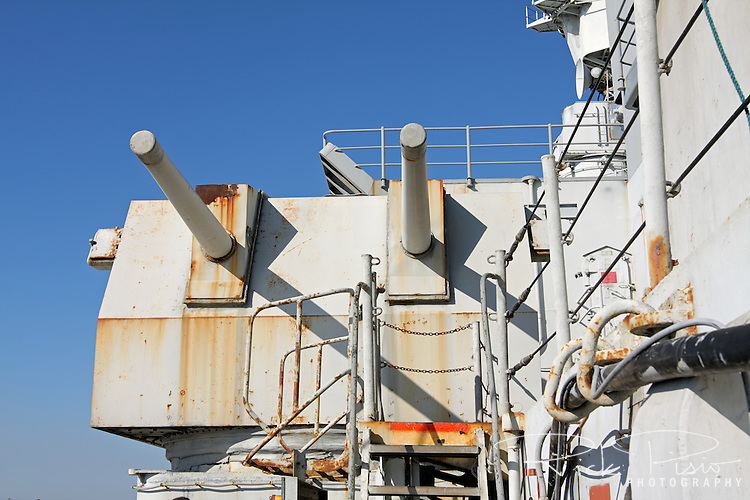 One of the USS Iowa's port side 5 inch gun batteries.