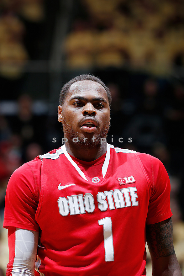 WEST LAFAYETTE, IN - JANUARY 8: Deshaun Thomas #1 of the Ohio State Buckeyes looks on against the Purdue Boilermakers during the game at Mackey Arena on January 8, 2013 in West Lafayette, Indiana. Ohio State won 74-64. Deshaun Thomas