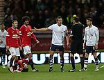 Preston's Kevin Davies gets booked<br /> <br /> FA Cup - Preston North End vs Manchester United  - Deepdale - England - 16th February 2015 - Picture David Klein/Sportimage