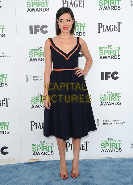 SANTA MONICA, CA, MARCH 01: Aubrey Plaza at The 2014 Film Independent Spirit Awards held at Santa Monica Beach in Santa Monica, California, USA on March 1st, 2014.                                                                              <br /> CAP/DVS<br /> &copy;Debbie VanStory/Capital Pictures