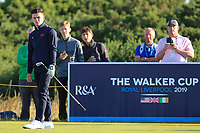 Conor Gough (GB&I) on the 4th tee during Day 2 Foursomes of the Walker Cup, Royal Liverpool Golf CLub, Hoylake, Cheshire, England. 08/09/2019.<br /> Picture Thos Caffrey / Golffile.ie<br /> <br /> All photo usage must carry mandatory copyright credit (© Golffile | Thos Caffrey)