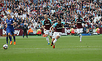West Ham United's Manuel Lanzini scores his side's first goal  <br /> <br /> Photographer Rob Newell/CameraSport<br /> <br /> The Premier League - West Ham United v Everton - Sunday 13th May 2018 - London Stadium - London<br /> <br /> World Copyright &copy; 2018 CameraSport. All rights reserved. 43 Linden Ave. Countesthorpe. Leicester. England. LE8 5PG - Tel: +44 (0) 116 277 4147 - admin@camerasport.com - www.camerasport.com