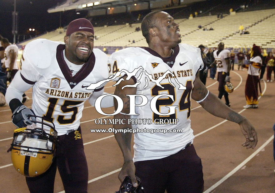 November 08, 2008:   Arizona State players #15 Angelo Fobbs-Valention and #24 Keegan Herring enjoy a laugh together after the game against Washington.  Arizona State defeated Washington 39-19  at Husky Stadium in Seattle, Washington.