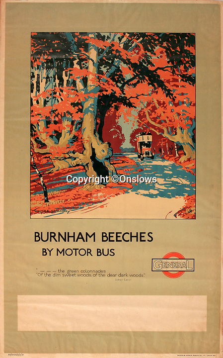 BNPS.co.uk (01202 558833)<br /> Pic: Onslows/BNPS<br /> <br /> Burnham Beeches -  'Motor Bus' travel was encouraged to the then leafy town's and villages around the capital.<br /> <br /> A fascinating treasure trove of old London posters are expected to sell at auction for £20,000 after being discovered in a garage.<br /> <br /> They were produced circa 1920 by the Underground Electric Railway Company to promote the capital's underground, tram and bus networks.<br /> <br /> There is also a charming selection of 'London Characters' posters showing different walks of life including a news boy, a zookeeper, a flower woman and a Covent Garden porter.<br /> <br /> The collection of 35 posters were found rolled up in a garage lock up in Kensington, west London, while it was being cleared out.<br /> <br /> The vendor, a lady in her 80s, inherited them many years ago from her late aunt who was an artist in the 1920s and had her own studio.