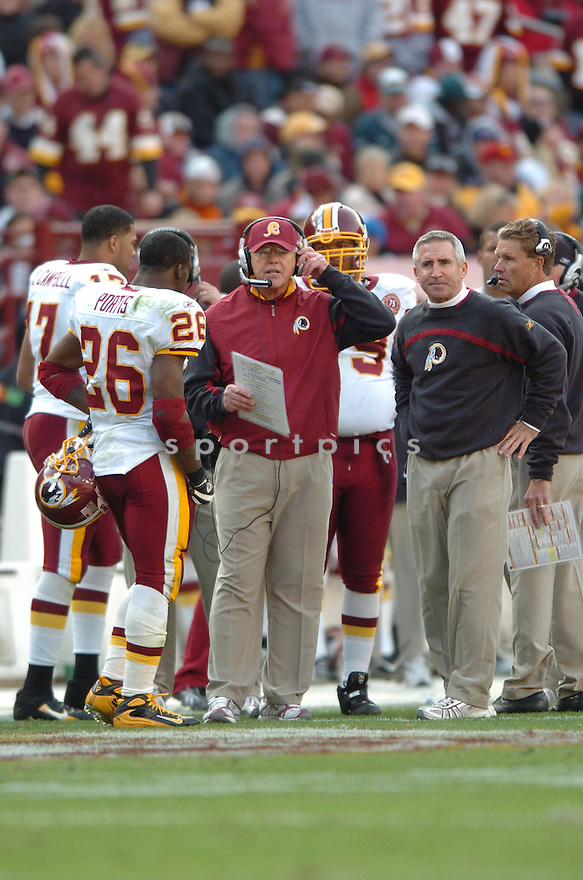 JOE GIBBS, of the Washington Redskins in action during the Redskin game against the Philadelphia Eagles on November 11, 2007 in Landover, Maryland...Eagles  win 33-25..SportPics