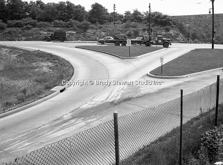 Pleasant Hills PA., Cloverleaf intersection in Pleasant Hills PA. Lebanon Church Road in Pleasant Hills, Route 51 in Pleasant Hills, Railway Express accident scene 1951, Brady Stewart Studio photographers, West Mifflin slag dump
