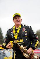 Feb 9, 2020; Pomona, CA, USA; NHRA pro stock driver Jeg Coughlin Jr celebrates after winning the Winternationals at Auto Club Raceway at Pomona. Mandatory Credit: Mark J. Rebilas-USA TODAY Sports
