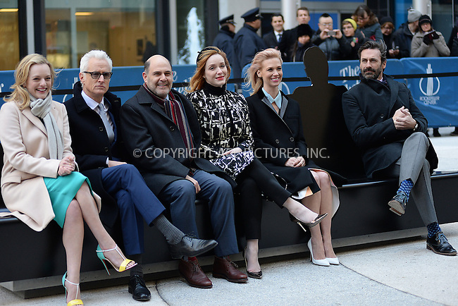 WWW.ACEPIXS.COM<br /> March 23, 2015 New York City<br /> <br /> Elisabeth Moss, John Slattery, Mathew Weiner, Christina Hendricks, January Jones, and Jon Hamm attending the 'Mad Men' art installation Unveiling at Time &amp; Life Building on March 23, 2015 in New York City. <br /> <br /> Please byline: Kristin Callahan/AcePictures<br /> <br /> ACEPIXS.COM<br /> <br /> Tel: (646) 769 0430<br /> e-mail: info@acepixs.com<br /> web: http://www.acepixs.com