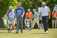 Padraig Harrington (IRL) and Shane Lowry (IRL) head down 18 during Round 2 of the Zurich Classic of New Orl, TPC Louisiana, Avondale, Louisiana, USA. 4/27/2018.<br /> Picture: Golffile | Ken Murray<br /> <br /> <br /> All photo usage must carry mandatory copyright credit (&copy; Golffile | Ken Murray)