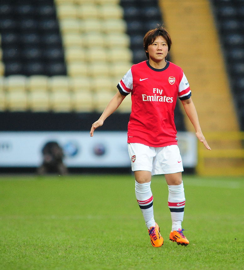 Arsenal Ladies' Shinobu Ohno in action during todays match  <br /> <br /> Photo by Chris Vaughan/CameraSport<br /> <br /> Women's Football - FA Women&rsquo;s Super League 1 - Notts County Ladies v Arsenal Ladies - Wednesday 16th April 2014 - Meadow Lane - Nottingham<br /> <br /> &copy; CameraSport - 43 Linden Ave. Countesthorpe. Leicester. England. LE8 5PG - Tel: +44 (0) 116 277 4147 - admin@camerasport.com - www.camerasport.com