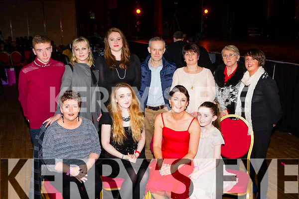 Aisling Crosbie with her family front row l-r: Karie O'Toole, Keelin O'Sullivan, Aisling Crosbie, Abbie O'Sullivan. Back row: Sean O'Sullivan, Linda Eviston, Marian O'Shea, Des O'Connor, Bob O'Connor, Lisa and Noreen O'Shea at the Strictly Come Dancing in aid of the Irish Cancer Society in the INEC on Friday night