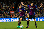 Jordi Alba of FC Barcelona (L) in action during the La Liga match between Barcelona and Real Sociedad at Camp Nou on May 20, 2018 in Barcelona, Spain. Photo by Vicens Gimenez / Power Sport Images