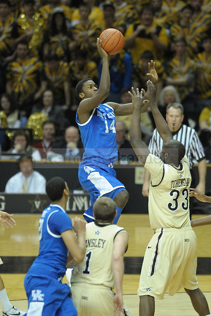 UK's forward Michael Kidd-Gilchrist puts up shot during the first half of the University of Kentucky men's basketball game against Vanderbilt at Memorial Gym in Nashville, Tennessee., on Feb. 11, 2012. UK led 36-23 at half. Photo by Mike Weaver | Staff