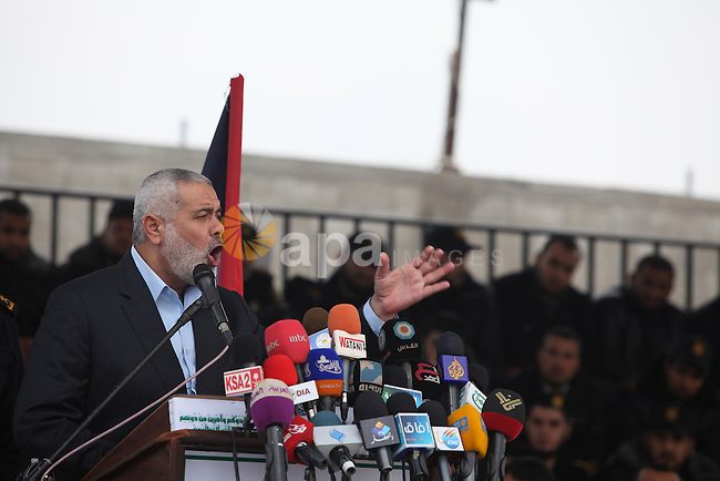 Palestinian Prime Minister in Gaza, Ismail Haniyeh  participates a graduation ceremony Batch of the leader Salah El Din Ayoubi for members of Hamas security forces in Gaza City January 2, 2013. Photo by Majdi Fathi