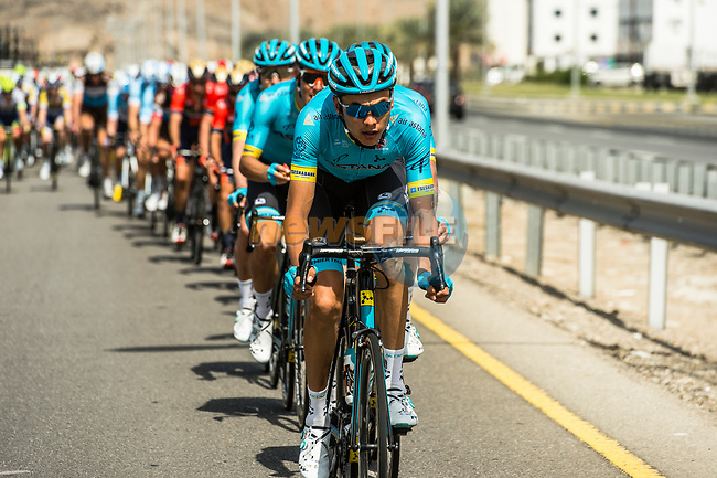 The peloton with Astana Pro team on the front during Stage 4 of 10th Tour of Oman 2019, running 131km from Yiti (Al Sifah) to Oman Convention and Exhibition Centre, Oman. 19th February 2019.<br /> Picture: ASO/Kåre Dehlie Thorstad | Cyclefile<br /> All photos usage must carry mandatory copyright credit (© Cyclefile | ASO/Kåre Dehlie Thorstad)