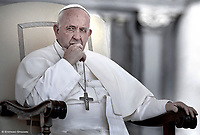 Pope Francis  during a weekly general audience at Saint Peter's square on June 5, 2019