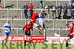 Castleisland Desmonds Kieran Brennan wins the kick out from Kevin O'Sullivan Kenmare defence during their Intermediate semi final clash in Fitzgerald Stadium on Sunday