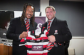 Mark Price is presented with his 50th jersey by Steelers Coach Tana Umaga at the after match function.  ITM Cup and Ranfurly Shield rugby game between Counties Manukau Steelers and the Southland Stags, played at ECOLight Stadium on Friday October 11th 2013. Counties Manukau won the game 25 - 7 after leading 22 - 0 at halftime and retain the Ranfurly shield.