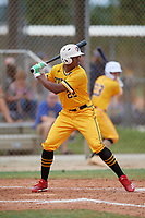 Trey Carter (22) during the WWBA World Championship at the Roger Dean Complex on October 12, 2019 in Jupiter, Florida.  Trey Carter attends Carlisle High School in Martinsville, VA and is committed to Florida State.  (Mike Janes/Four Seam Images)