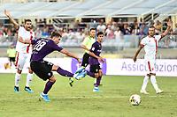 Dusan Vlahovic of Fiorentina scores goal of 2-1 <br /> Firenze 19/08/2019 Stadio Artemio Franchi <br /> Football Italy Cup 2019/2020 <br /> ACF Fiorentina - Monza  <br /> Foto Andrea Staccioli / Insidefoto