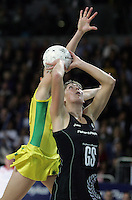 18.07.2007 Silver Ferns Irene Van Dyk and Australia's Liz Ellis in action during the Silver Ferns v Australia Fisher and Paykel Netball Test Match at Vector Arena, Auckland. Mandatory Photo Credit ©Michael Bradley.