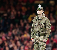 A general view of Principality Stadium, home of Wales a soldier stands guard during the anthems<br /> <br /> Photographer Simon King/CameraSport<br /> <br /> International Rugby Union - 2017 Under Armour Series Autumn Internationals - Wales v Australia - Saturday 11th November 2017 - Principality Stadium - Cardiff<br /> <br /> World Copyright &copy; 2017 CameraSport. All rights reserved. 43 Linden Ave. Countesthorpe. Leicester. England. LE8 5PG - Tel: +44 (0) 116 277 4147 - admin@camerasport.com - www.camerasport.com