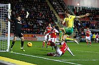 Rotherham v Norwich 14.1.17 ... Norwichs Steven Whittaker shoots