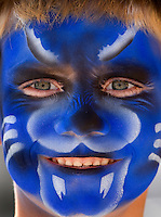A young fan shows enthusiasm for the Carolina Panthers with a fully painted face. The Carolina Panthers, professional American NFL football team that represents both North Carolina and South Carolina, is based in Charlotte, North Carolina. The Panthers began playing in 1995 as part of the National Football League?s expansion program. They are members of the National Football Conference (NFC) South Division. They play in the Bank of America Stadium, located in downtown Charlotte.