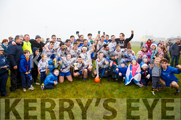 The St Marys side celebrate with fans at the South Kerry Final on Portmagee on Sunday with their 4 in a row victory over Piarsaigh na Dromoda.