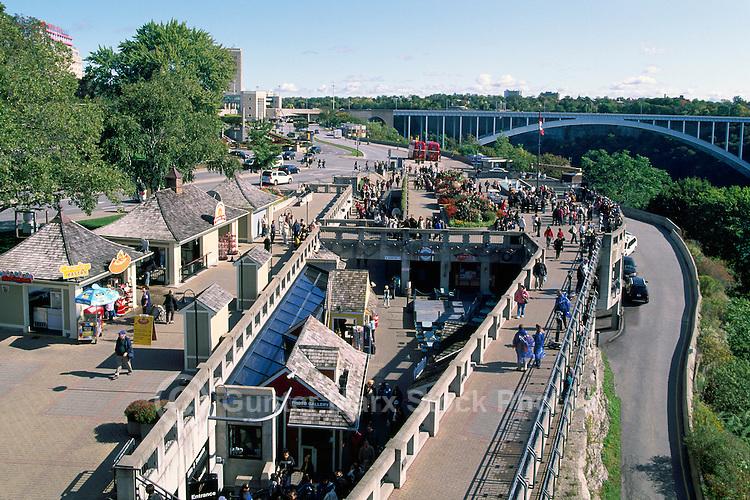 The Promenade and the 'Rainbow Bridge' across the Niagara River Gorge, in the City of Niagara Falls, Ontario, Canada