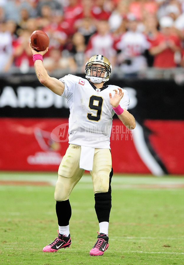 Oct. 10, 2010; Glendale, AZ, USA; New Orleans Saints quarterback (9) Drew Brees against the Arizona Cardinals at University of Phoenix Stadium. The Cardinals defeated the Saints 30-20. Mandatory Credit: Mark J. Rebilas-