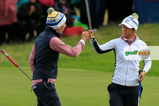 Carlota Ciganda and  Azahara Munoz of Team Europe on the 2nd green during Day 2 Fourball at the Solheim Cup 2019, Gleneagles Golf CLub, Auchterarder, Perthshire, Scotland. 14/09/2019.<br /> Picture Thos Caffrey / Golffile.ie<br /> <br /> All photo usage must carry mandatory copyright credit (© Golffile | Thos Caffrey)