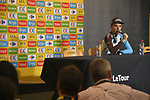 Romain Bardet (FRA) AG2R La Mondiale talks to the media Stage 20 of the 104th edition of the Tour de France 2017, an individual time trial running 22.5km from Marseille to Marseille, France. 22nd July 2017.<br /> Picture: ASO/Bruno Bade | Cyclefile<br /> <br /> <br /> All photos usage must carry mandatory copyright credit (&copy; Cyclefile | ASO/Bruno Bade)