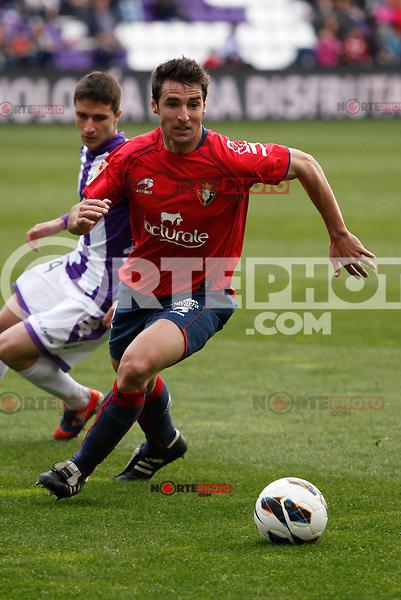 Real Valladolid´s Omar and Osasuna´s Marc Bertran during match of La Liga 2012/13. 31/03/2013. Victor Blanco/Alterphotos /NortePhoto