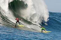 Greg Long and Evan Slater dueling it out at  Mavericks Surf Contest 2008.  Half Moon Bay, Ca.  January 12, 2008.