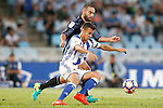 Real Sociedad's David Concha (r) and Real Madrid's Daniel Carvajal during La Liga match. August 21,2016. (ALTERPHOTOS/Acero)