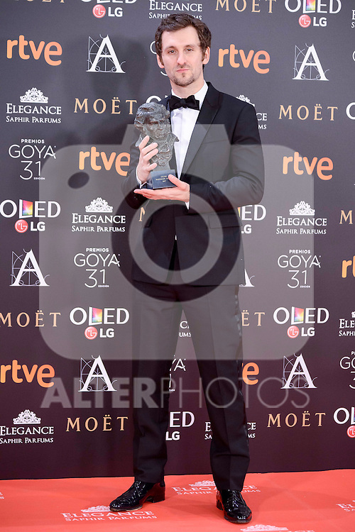 Raul Arevalo pose to the media with the Goya award at Madrid Marriott Auditorium Hotel in Madrid, Spain. February 04, 2017. (ALTERPHOTOS/BorjaB.Hojas)