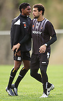 Roy Krishna and Daniel Cortes during the Wellington Phoenix A-League football training session Training Session at Newtown Park, Wellington, New Zealand on Monday, 4 May 2009. Photo: Dave Lintott / lintottphoto.co.nz