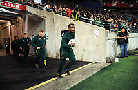 Springboks captain Siya Kolisi leads his team out for the Rugby Championship match between the New Zealand All Blacks and South Africa Springboks at Westpac Stadium in Wellington, New Zealand on Saturday, 15 September 2018. Photo: Dave Lintott / lintottphoto.co.nz