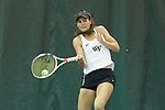 Mary Caroline Meredith of the Wake Forest Demon Deacons returns the ball during her doubles match against the Liberty Flames at the Wake Forest Indoor Tennis Center on March 11, 2017 in Winston-Salem, North Carolina. The Demon Deacons defeated the Flames 7-0.  (Brian Westerholt/Sports On Film)